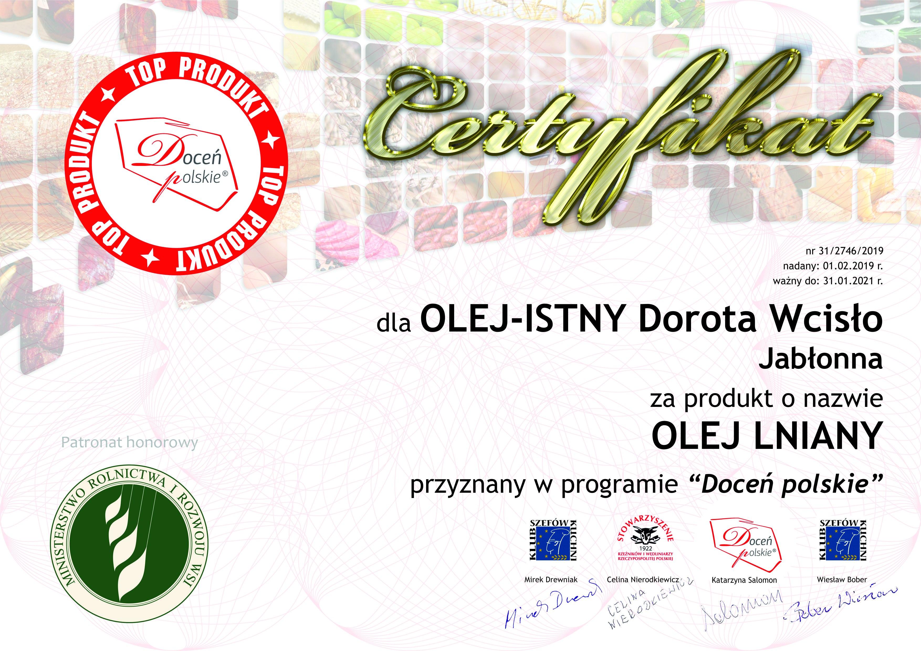 """Certyfikat programu """"Doceń polskie"""" - olej olniany"""